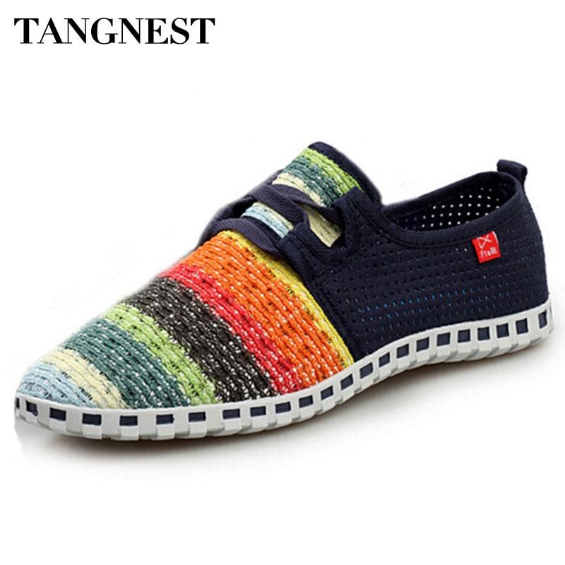 Tangnest夏通気性メッシュシューズ男性ビーチカップル靴虹色コンフォートスリップオンフラット用男サイズ35-44 XMF263スリップオンシューズ