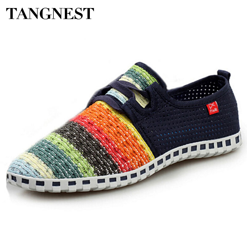 Tangleest Summer Breathable Mesh Shoes Men's Beach Couple Shoes Rainbow Comfort Slip Size On Flat For Man Size 35-44 XMF263
