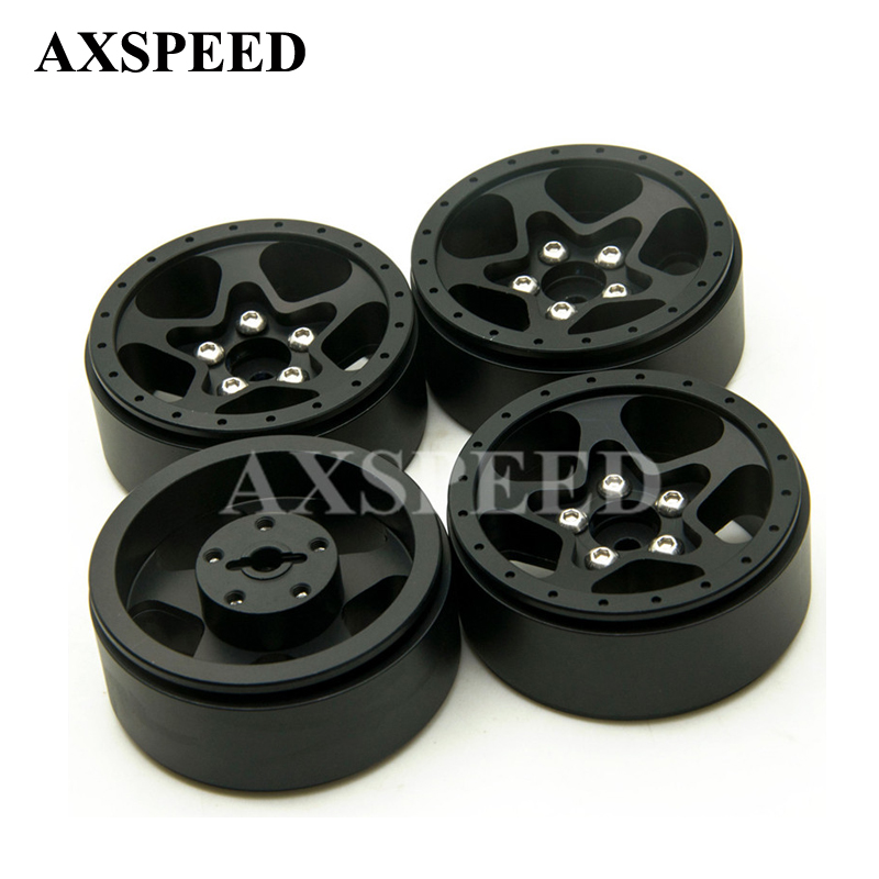 4Pcs/lot RC CNC Alloy Black Wheel Hubs 1.9 Beadlock 5 Spoke Aluminum Wheels Rims For 1/10 RC Crawler SCX10 CC01 F350 D90 RC4WD free shipping 2pcs 1 9 nv version 1 10 scale rc crawler wheels metal beadlock wheel hubs diameter 62mm