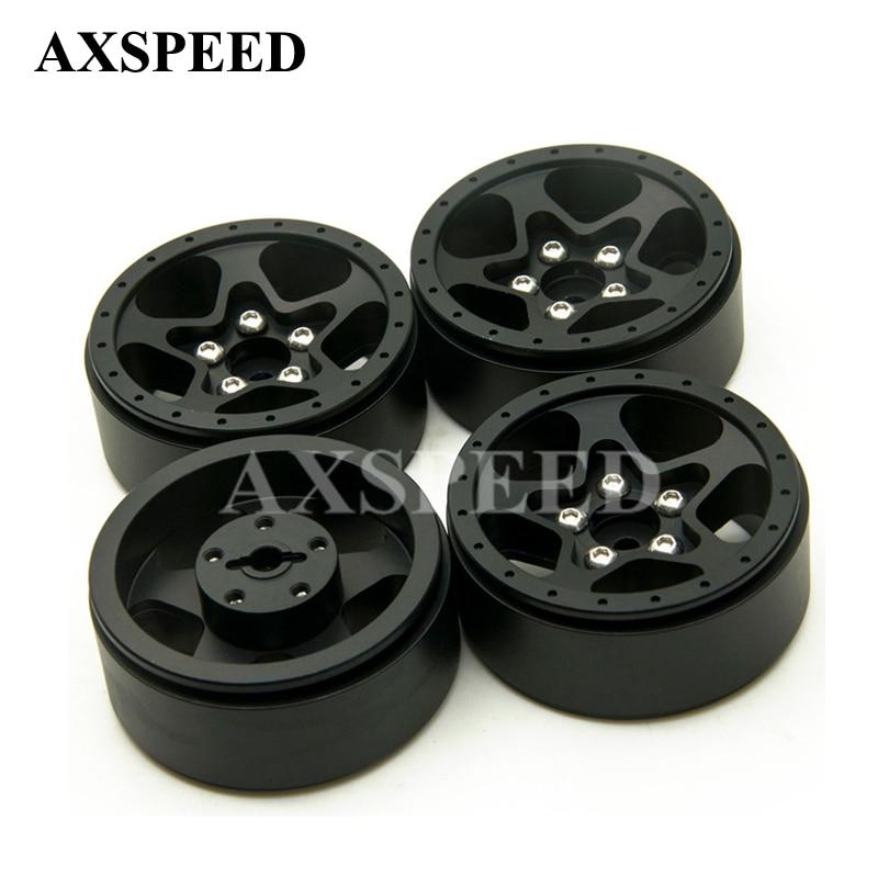 4Pcs/lot RC CNC Alloy Black Wheel Hubs 1.9 Beadlock 5 Spoke Aluminum Wheels Rims For 1/10 RC Crawler SCX10 CC01 F350 D90 RC4WD 2pcs 2 2 metal wheel hubs for 1 10 scale rc crawler car nv widen version outer beadlock wheels diameter 64 5mm width 43 5mm