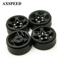 4Pcs/lot RC CNC Alloy Black Wheel Hubs 1.9 Beadlock 5 Spoke Aluminum Wheels Rims For 1/10 RC Crawler SCX10 CC01 F350 D90 RC4WD