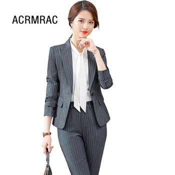 la mejor actitud 2cadb 2ed8a Trajes de mujer Slim primavera rayas gris pantalones set de 2 piezas OL  Formal negocios mujeres pantalones trajes mujer conjunto trajes 865