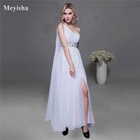 ZJ0005 אבנט לבן שיפון כתף אחת 2015 הגעה לניו פורמליות שמלות מקסי בתוספת גודל אופנה שמלת ערב עם אבנט