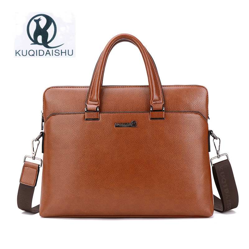 KUQIDAISHU Brand PU Leather Business Bag Fashion Man Bags Handbag Laptop Briefcase Messenger Bags Shoulder Bag Sacoche Homme