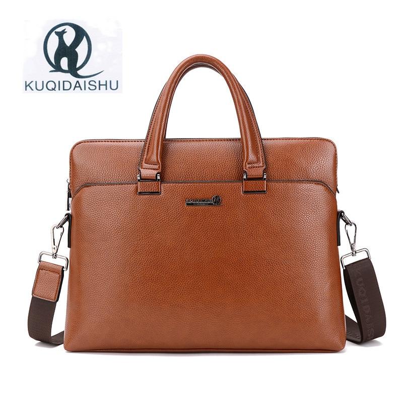 Kuqidaishu Marke Pu Leder Business Tasche Mode Mann Taschen Handtasche Laptop-tasche Aktentasche Messenger Bags Umhängetasche Sacoche Homme Taille Und Sehnen StäRken Herrentaschen