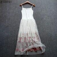 LERFEY Sexy Dress Spaghetti Strap Patchwork Mesh Embroidery Dress Women Tulle Gauze Lace Dress Sundress Party