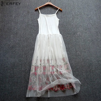 LERFEY Sexy Dress Spaghetti Strap Patchwork Mesh Embroidery Dress Women Tulle Gauze Lace Dress Sundress Party