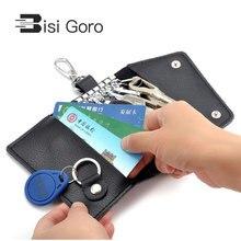 BISI GORO 2018 Brand Car Key Holder Genuine Cow Leather Men & Women Bag Wallet Fashion Multi Function Mini Case