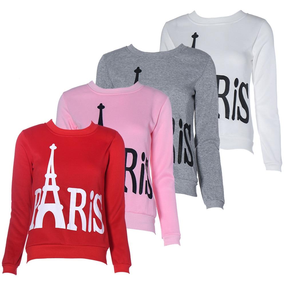 Nuttig Basic Sweatshirts Vrouwen Lange Mouwen Parijs Eiffeltoren Printing  Womens Tops 2017 Lente Herfst Tee Shirt Femme in Nuttig Basic Sweatshirts  Vrouwen ...