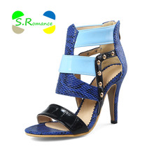 S.Romance Women Sandals Supper High Thin Heels Patent PU Mixed Colors Rivets Size 34-43 Women's New Fashion Summer Shoes SS091(China)