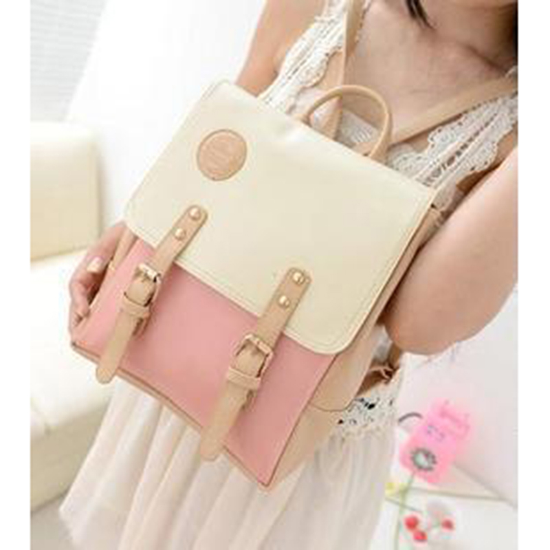 New Female Package Backpack College Wind Hit Color Bag Sweet Lady Korean Version Trend Delicate Student
