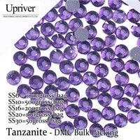 Bulk Packing Best Quality Shiny Glass Wholesale Size SS6 SS10 SS16 SS20 SS30 Tanzanite Hotfix Rhinestones