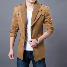 2017 Business Men Casual Warm Coats Size M-3XL Good Quality Single Breasted Design Thicken Man Fashion Wool Clothings