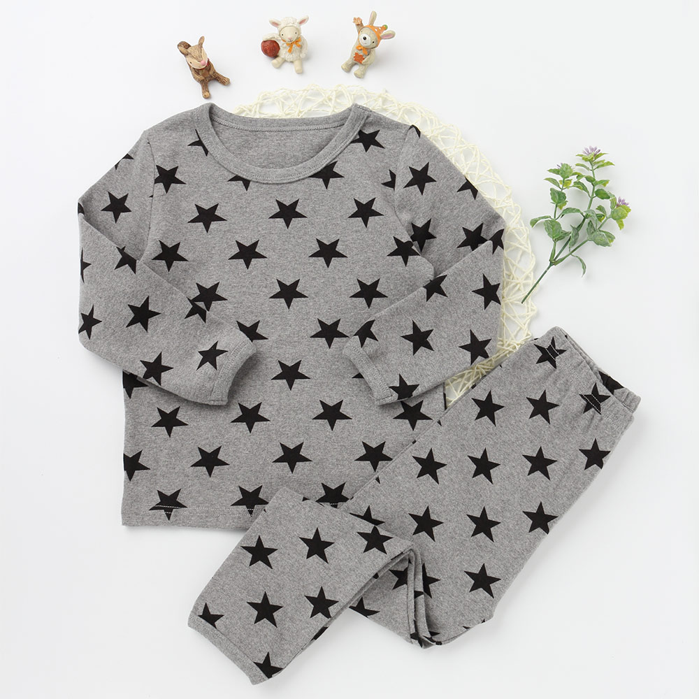 Children Pajamas Suits Fashion Girls And boys Cotton O-neck Clothing Sets Star Pattern 2017 New Long Sleeve Top Tee Long Pants ruched neck frill sleeve ribbed tee