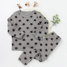 Купить с кэшбэком Children Pajamas Suits Fashion Girls And boys Cotton O-neck Clothing Sets Star Pattern 2017 New Long Sleeve Top Tee Long Pants