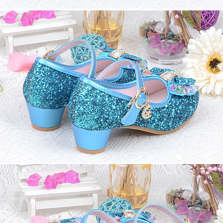 1_032016 spring Kids Girls High Heels For Party Sequined Cloth Blue pink Shoes Ankle Strap Snow Queen Children Girls Pumps Shoes