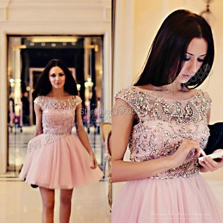 bb8c8e7ef2904 E3617 Sexy sheer straps low back crystal beaded knee length short pink prom  dress