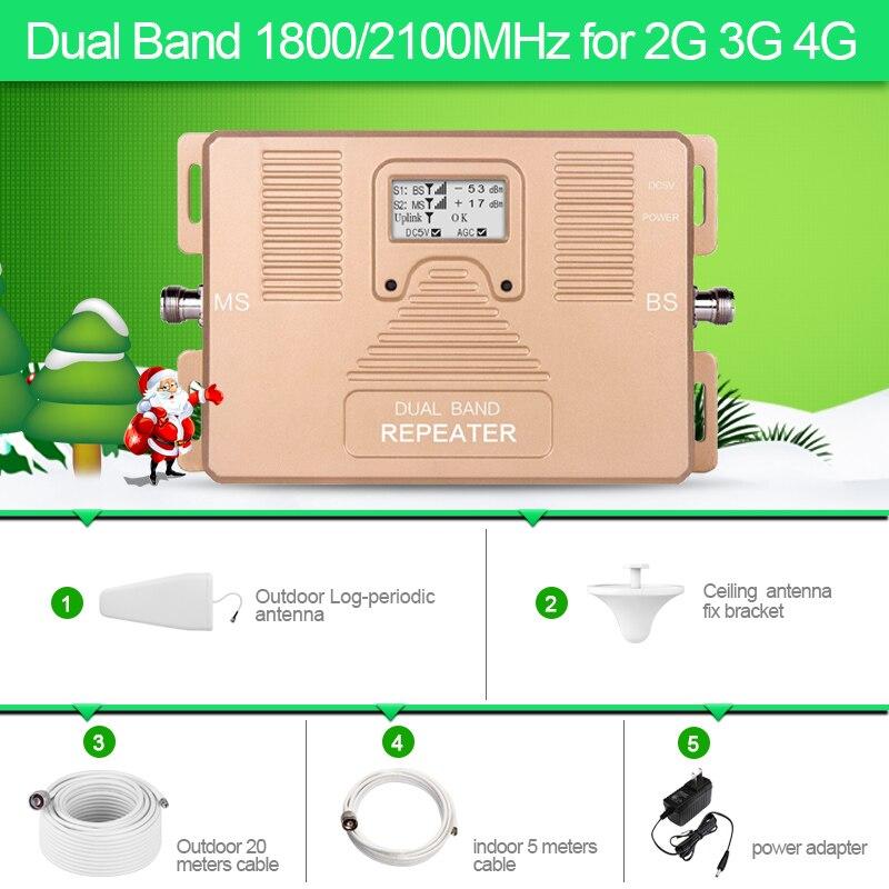 Plein Smart! DOUBLE BANDE LCD affichage vitesse 2g + 3g + 4g1800/2100 mhz mobile signal cellulaire booster téléphone portable répéteur de signal amplificateur