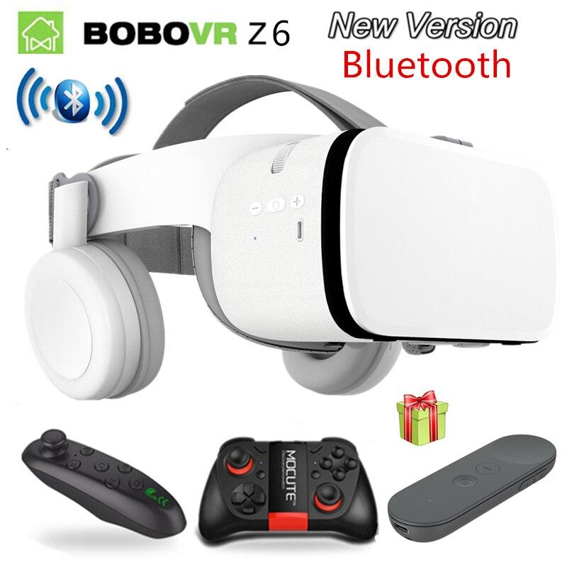 2019 Mais Novo Bobo Z6 vr VR óculos óculos de REALIDADE VIRTUAL Sem Fio Bluetooth IOS Android Remote Realidade VR 3D Óculos de papelão 4.7 -6.2 polegada