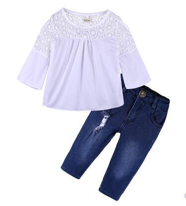 2019 новая трендовая Одежда для девочек, футболка + джинсы, летний модный повседневный костюм из двух предметов для девочек