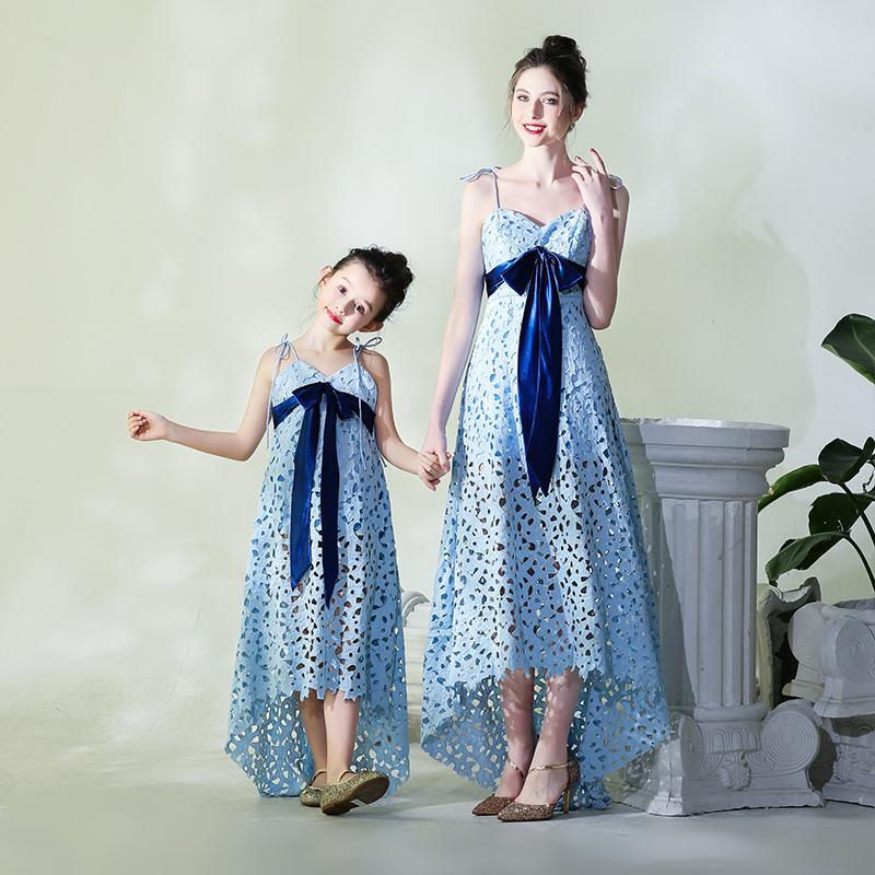 1b6069bd28 Mother Daughter Runway Dress Kids Girls Lace Evening Ball Gown Mom and Me  Wedding Dress Family Matching Outfits Vestidos PB163