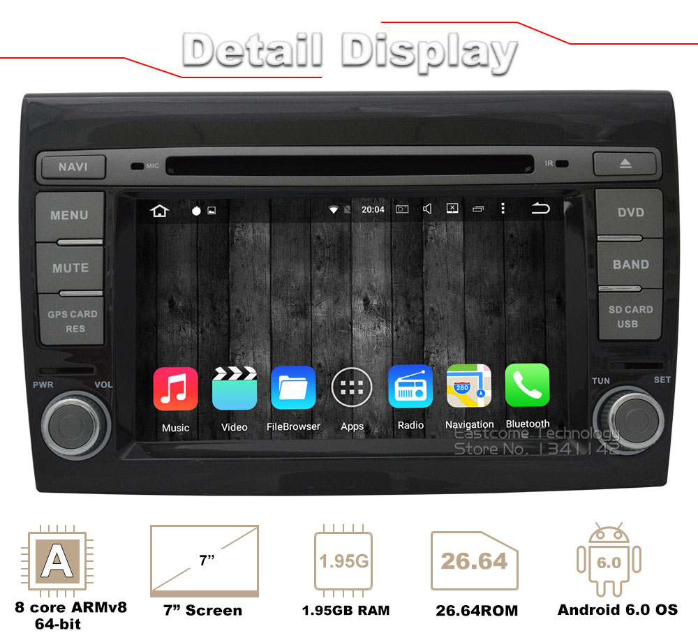 Clearance 1024*600 8 Cores Octa Core Pure Android 6.01 Car DVD Player For Fiat Bravo 2007 2008 2009 2010 2011 2012 With Rear View Camera 1