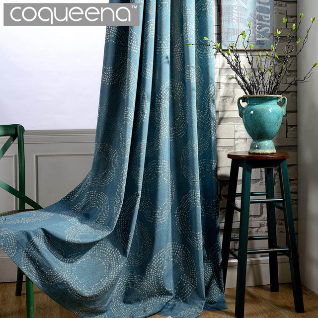 teal blue living room curtains paint ideas for uk elegant oriental luxury circle pattern linen curtain bedroom ready made door fabric