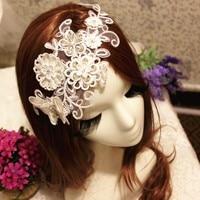 Nueva Moda de Lujo de Cristal de Diamante de Encaje Tocado Tocado Horquilla de Mariposa Blanca