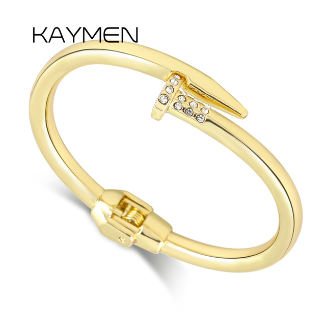 4f5470677 KAYMEN New Arrival Golden or Silver Color Nail Bangle for Women Hot Selling  Statement Stainless Steel Cuff Bracelet bangle