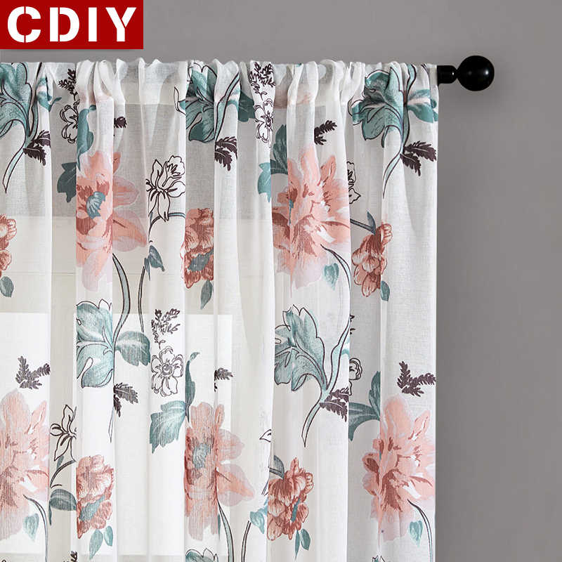 CDIY Floral Tulle Curtains For Living Room Bedroom Voile Curtains Europe Printed Sheer Curtains Window Drapes Customized Fabric
