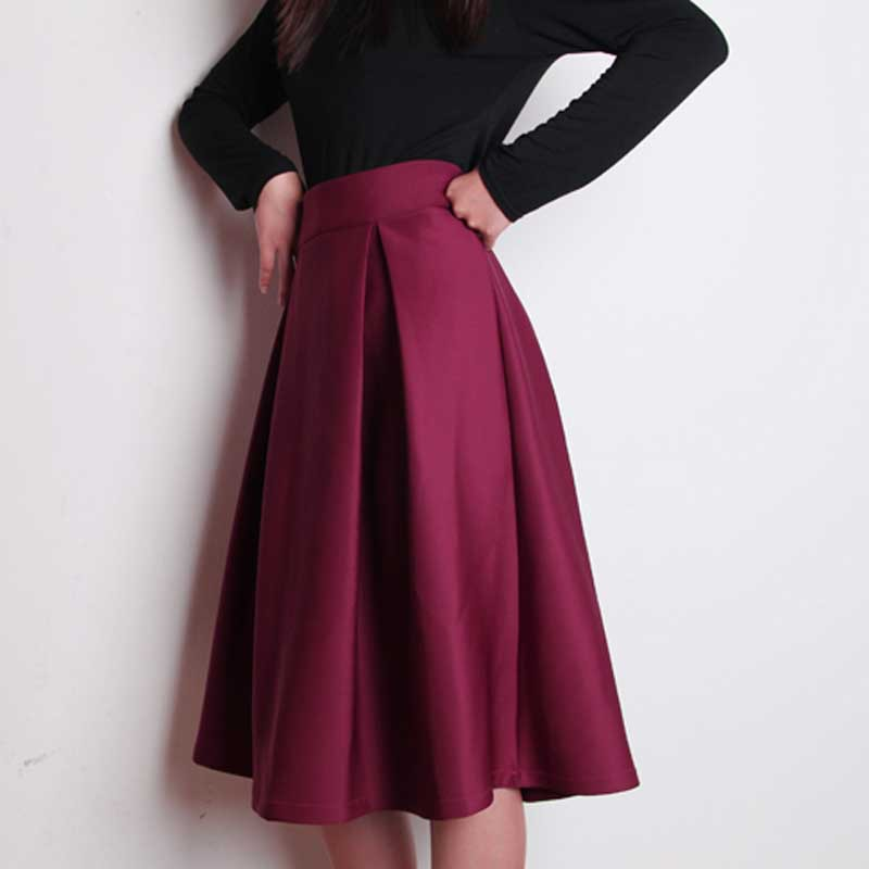 3be99f221c2 Plus Size Autumn Winter Flared Skirt Pleated Midi Skirt Retro Style Ladies  High Waist Elegant Vintage Skirts Femininas Saias-in Skirts from Women s  Clothing ...