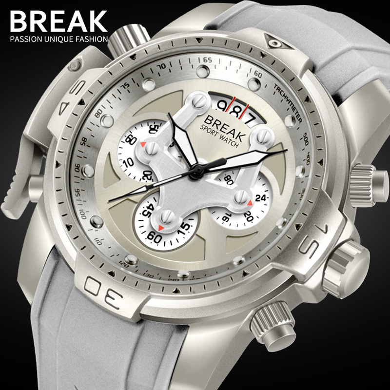 BREAK Men Classic Luxury Top Brand Gray Black Rubber Strap Fashion Chronograph Calendar Quartz Wristwatches Man