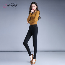 Brief Relate Black Skinny Denim Jeans Woman Fluff Full-length Pencil Pants Durable Elastic Fashion Casual Cut Warm Wear