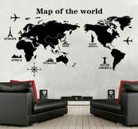 Large World Map Wall Sticker Removable Vinyl Decal Mural Art Home Office Decor