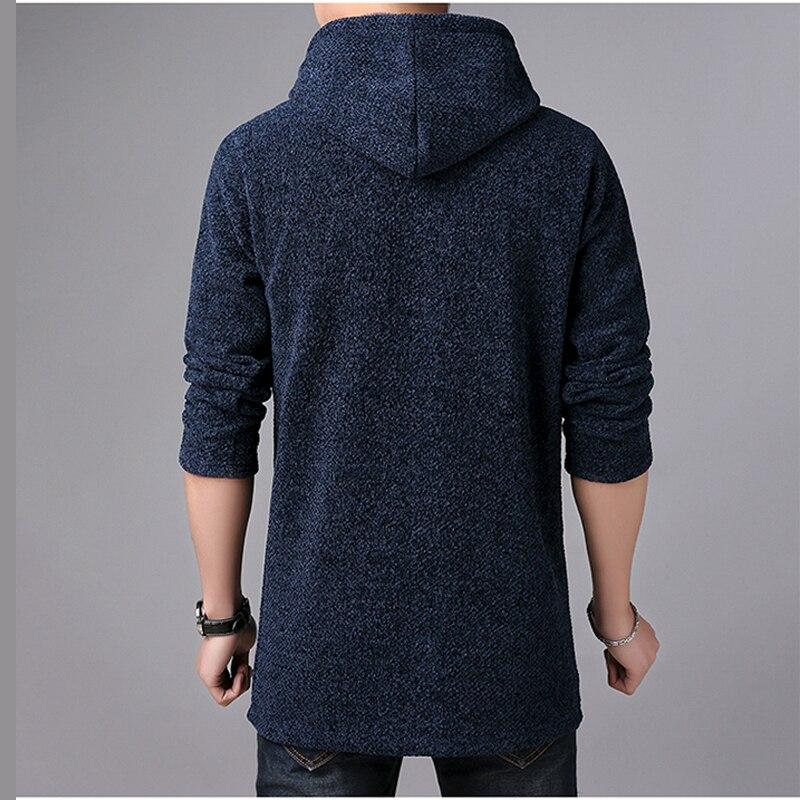 Image 2 - MIACAWOR Brand Sweater Men Hooded Cardigan Men Fleece Warm Sweatercoat Casual Wool Sweater Knitted Jackets Coats Y146-in Cardigans from Men's Clothing