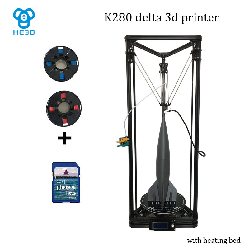 HE3D NEWest Kossel K280 large delta 3D printer kit impresora 24V 400w power with auto level and heat bed two filament for gift micromake 3d printer pulley version diy kit metal 3d printer kossel delta with 8g sd card and test materials