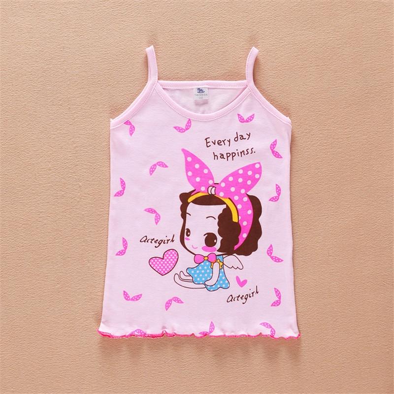 Летние безрукавки для девочек, 2 шт./лот, одежда для девочек, хлопковые топы без рукавов высокого качества aTST0003