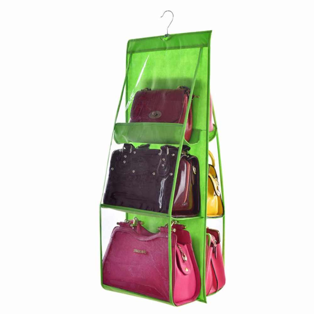 Nosii 6 Bolso Dobrável Pendurado Dupla Face Transparente Bolsa Bolsa Saco De Armazenamento Diversos Tidy Organizador Wardrobe Closet Hanger