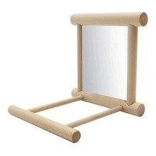 Смешные деревянные птица игрушка подставка для зеркала заднего вида платформа игрушки для попугаев зеркало стойка для сидения барные аксессуары