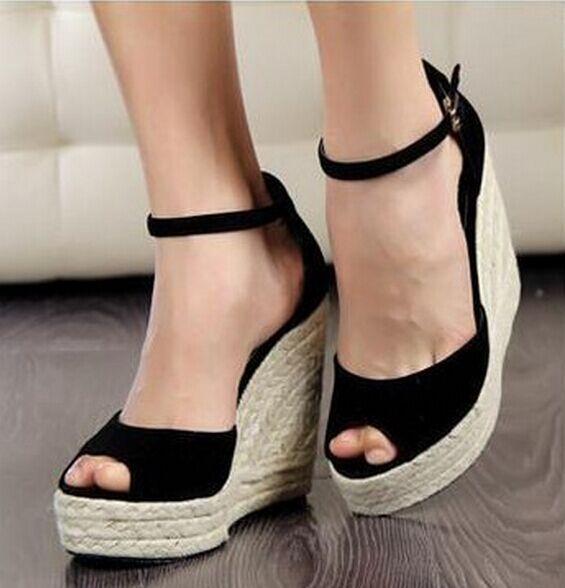 Mujeres Sandalias Tacones altos Sandalias Bohemia plataforma cuñas Sandalias  señora Zapatos Tacones altos plataforma Zapatos cuñas del dedo del pie  abierto ... a069b567a63f
