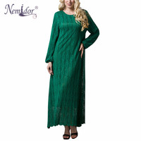 Nemidor High Quality Women Elegant O Neck Party Lace Dress Plus Size 7XL Long Sleeve Casual