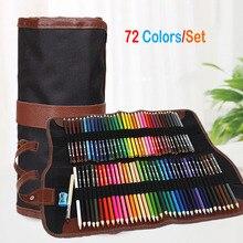 أقلام تلوين ملونة 72 قطعة بالقماش المحمول الحقيبة الملفوفة للكبار كتب التلوين والرسم والرسم والرسم