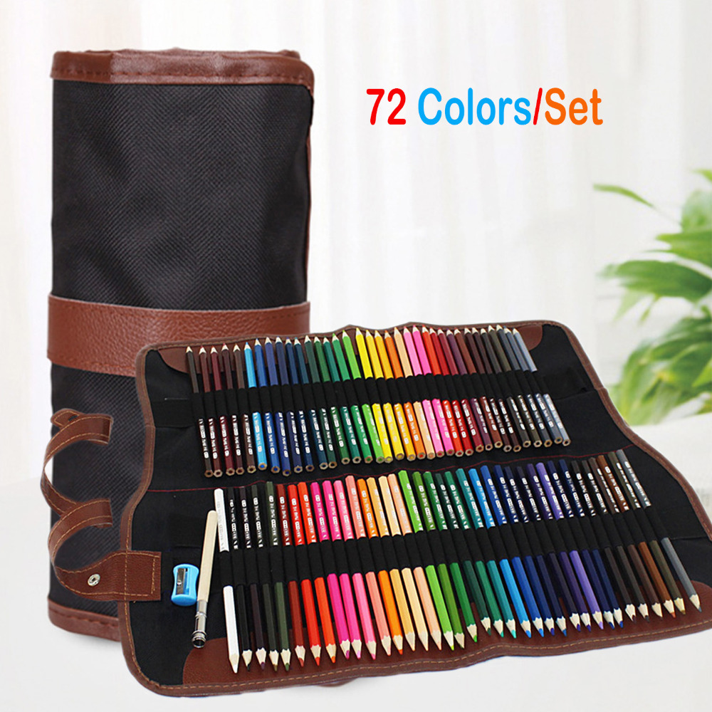 72pcs Art Coloured Pencils With Portable Canvas Pencil Wrap Pouch For Adult Coloring Books Drawing Writing Sketching Doodling