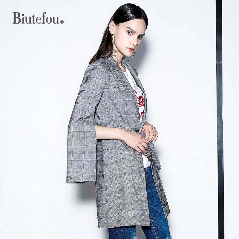Eleganti Giacche Disegni Plaid Di Lungo Gray Autunno Blazer Moda