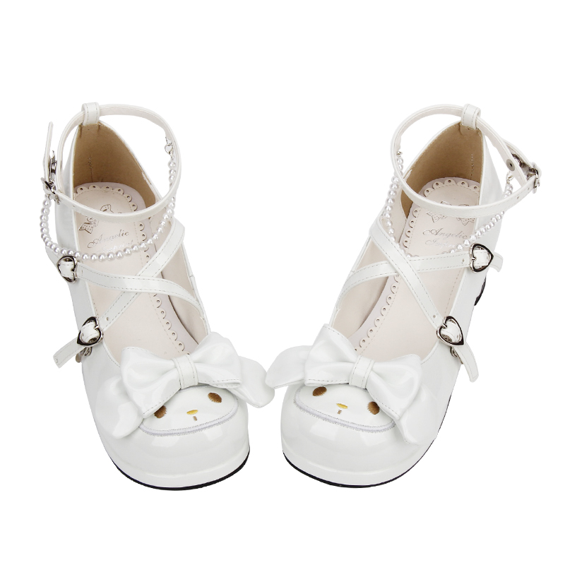 Filles mignon lapin croix sangle chaussures rose Chunky talons doux Lolita Cosplay chaussures-in Escarpins femme from Chaussures    2