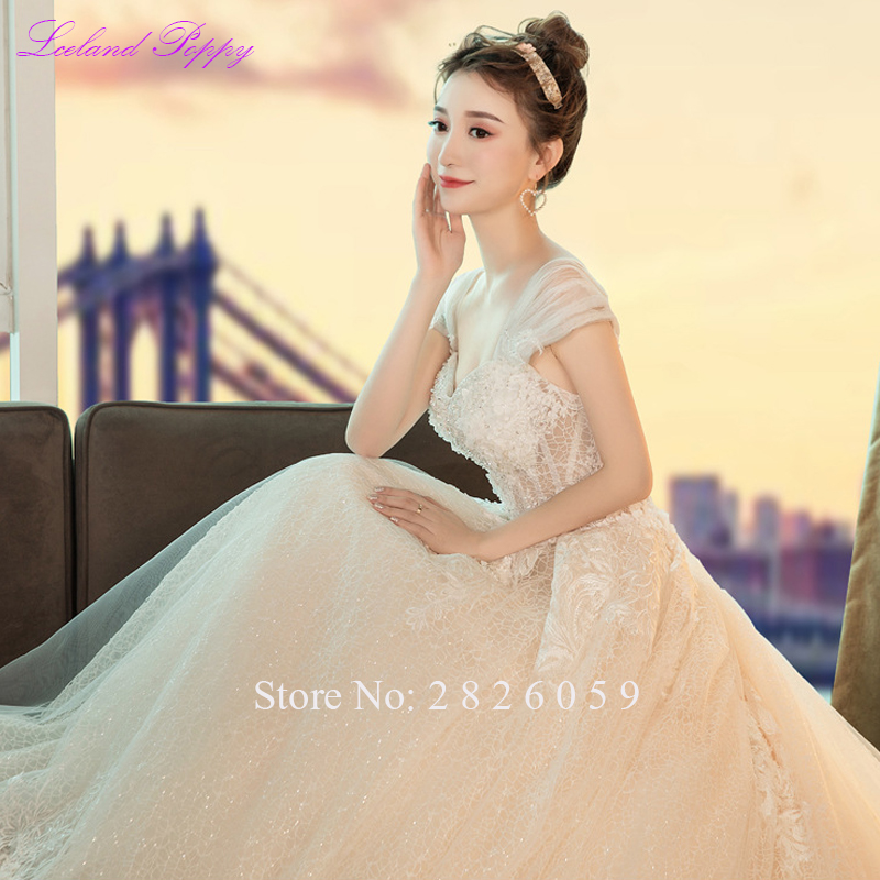 Women's A-line Lace Wedding Dresses 2019 Sweetheart Neckline Cap Sleeves Cathedral Train Beaded Flowers Bridal Gowns LP-0324