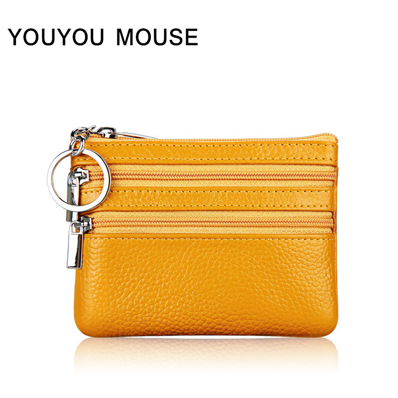YOUYOU MOUSE Fashion Womens Coin Purse Genuine Leather Zipper Small Wallet Solid Color Pattern High Quality Men Coin Purse youyou mouse 1pc fashion men