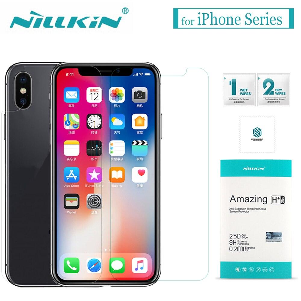 Para iPhone X XS Max XR 8 7 6 s 6 vidrio templado Nillkin 9 H película protectora de pantalla de vidrio transparente duro para Apple iPhone 8 7 6 s 6 Plus
