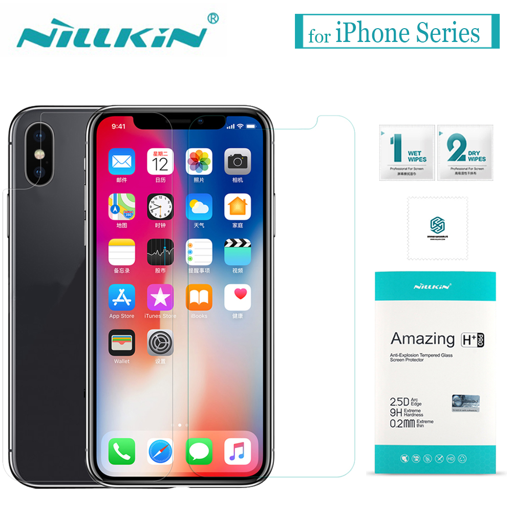 for iPhone X XS Max XR 8 7 6s 6 Tempered Glass Nillkin 9H Hard Clear Glass Screen Protector Film for Apple iPhone 8 7 6S 6 Plus