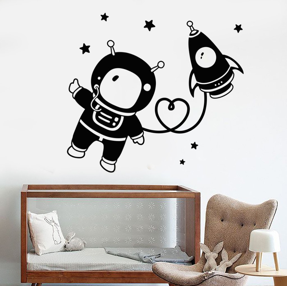 Aliexpresscom buy astronaut space nursery wall stickers for Wall stickers for living room malaysia
